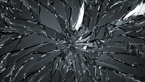 4K Splitted and Shattered glass with slow motion.  Animation
