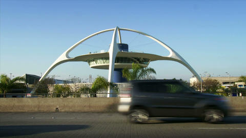 Theme Building at Los Angeles Airport, LAX Footage