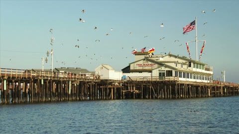 Stearns Wharf along the Santa Barbara Coast Footage