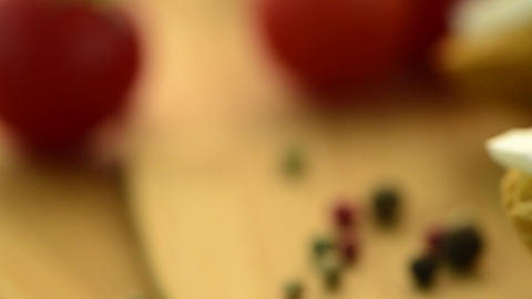 Cherry Tomatoes And Onion stock footage