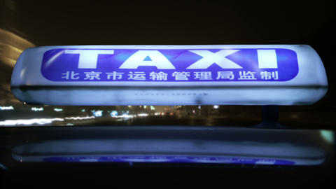 Timelapse Beijing taxi signal Footage