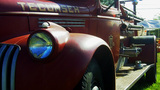 Detail Shot Historic 1940s Fire Truck stock footage