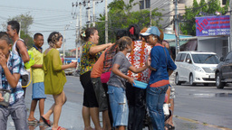 Songkran Festival Water Fight - People on a Motorc Footage