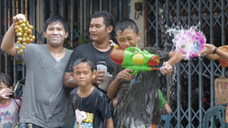 Group of Boys Enjoying the Songkran Festival Water Footage