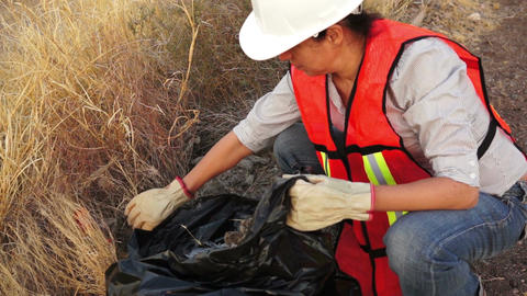 Environmental Woman Cleaning Garbage Live Action