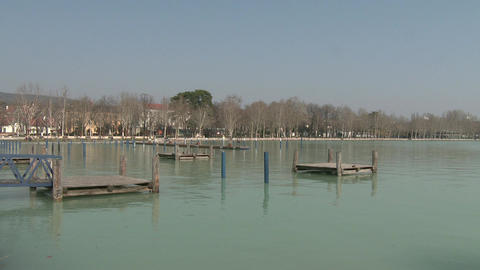 4K Balatonfured Hungary Pier 3 stock footage
