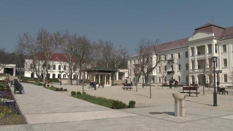 4 K Balatonfured Hungary Square and Sanatorium Hea Footage