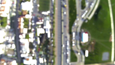 City Traffic At An Intersection. Aerial Camera Mov stock footage