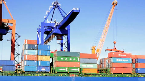 Stacked Containers On Deck Of The Cargo Ship stock footage