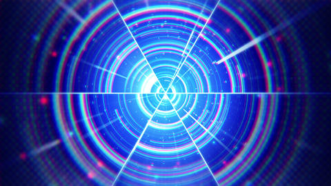 blue techno concentric segments loop CG動画素材