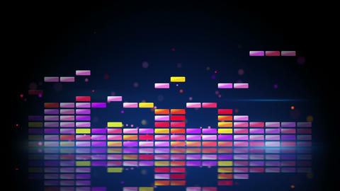 digital colorful equalizer with reflection loop Animation