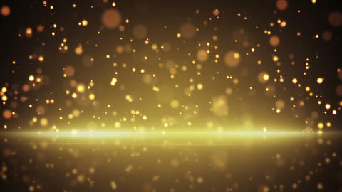flying gold particles and reflection loop backgrou Animation