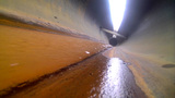 industrial water with foam in engineering pipe Footage