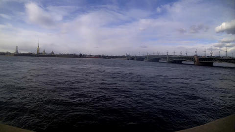Sankt-peterbrurg city walk on the embankment Footage