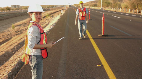 Road Worker Foreman Calling Laborer Footage