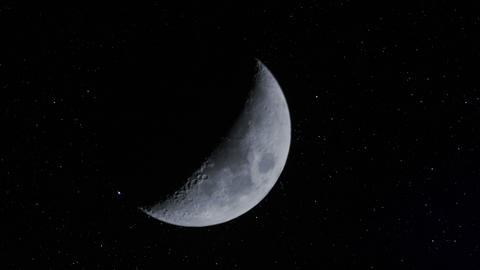4k UHD waxing moon w stars time lapse 11338 Footage