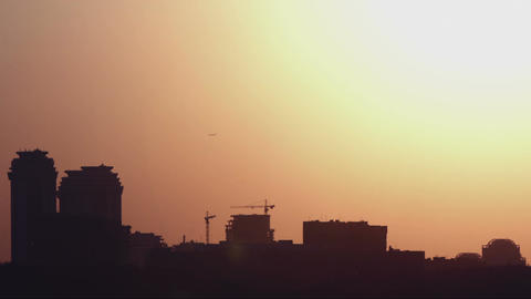 Beautiful sunset in the city Footage