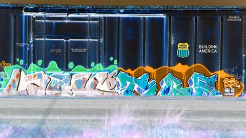 graffiti train Stock Video Footage