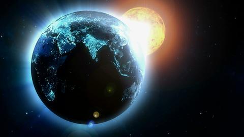 earth near sun Animation