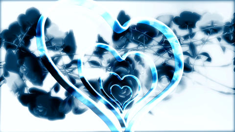concentric blue hearts Stock Video Footage