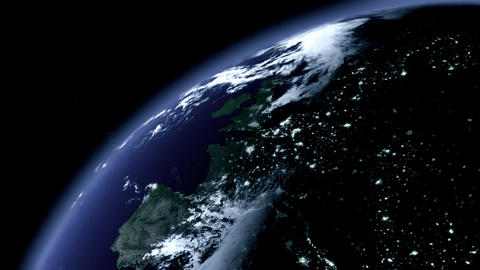 Earth Zoom / 3D Animation: Zoom To Earth At Night stock footage