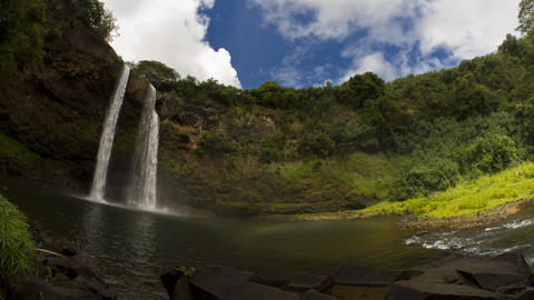 Timelapse, Double Rainbow at Wailua Falls, Timelap Footage