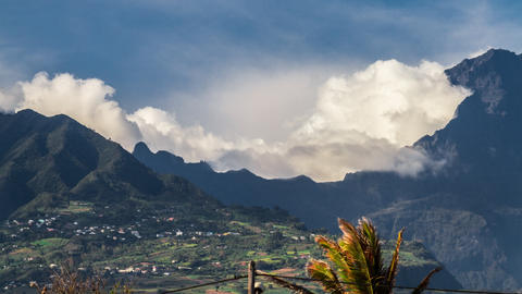 Clouds Timelapse Over Mountain Range, Reunion Sain stock footage