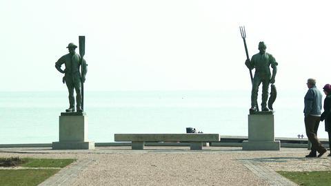 Balatonfured Hungary Fiherman and Ferryman Statues Footage