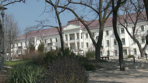 Balatonfured Hungary Sanatorium Heart Hospital 2 stock footage