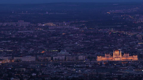 Budapest Hungary at Night Aerial 1 slow shutter Footage