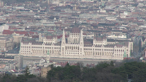 Parliament Hungary Aerial 1 stock footage