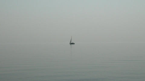 Small Sailing Boat in Lake Misty Weather 2 Footage
