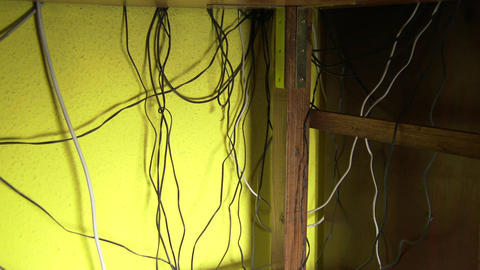 4K Electrtic Cables Mess 1 pan Footage