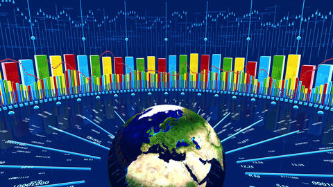 Business Charts with Spinning Earth Animation