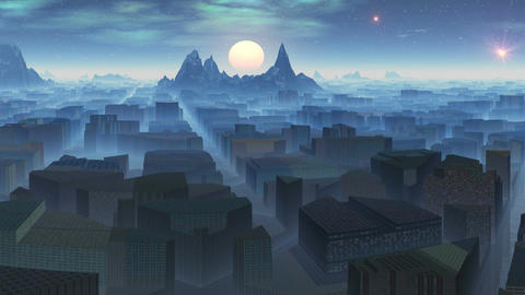 City in mountains and UFOs Stock Video Footage