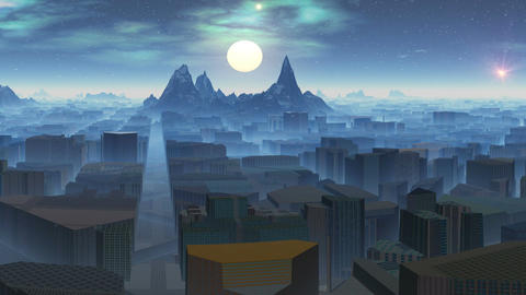 City in mountains and UFOs Animation