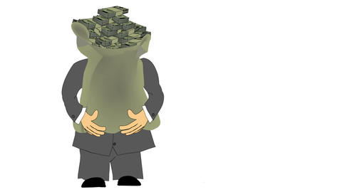 Suited Man Carrying Money Bag Animation