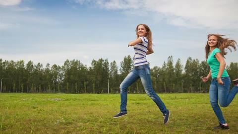 Teens Having Fun on the Meadow Footage