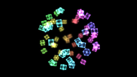 Bright Rotating Cubes - Loop Rainbow Animation