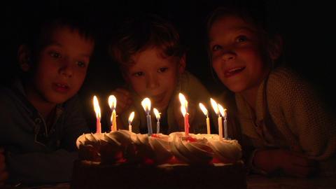 Children and Birthday Cake Footage