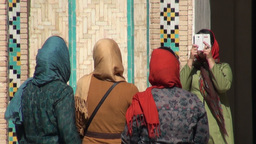 Iranian women take picture at old palace Footage