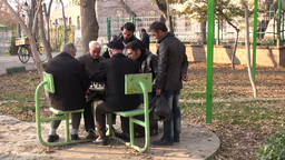 Senior Men Playing Chess In Tabriz Park, Iran stock footage
