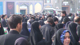 Busy entrance to shrine in Qom, Iran Footage
