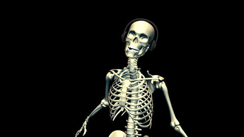 Dancing Skeleton with earphones Stock Video Footage