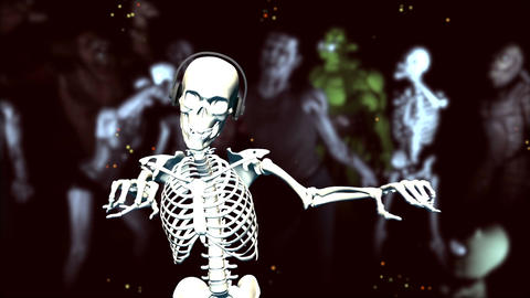 Dancing Skeleton (with Monsters; Strobe Light Effe stock footage