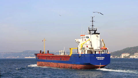 Cargo Ship. Tracking Shot Footage