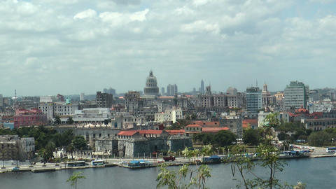 skyline of old city of havana,cuba, medium shot Footage