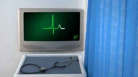 heart EKG monitor green in screen closeup Animation