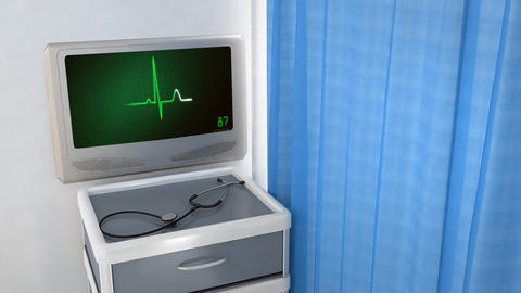 heart EKG monitor green in screen Animation