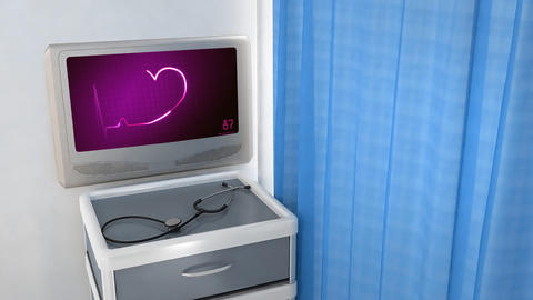 pink heart EKG monitor love in screen Animation